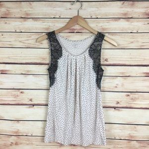 LOFT Polka Dot Tank Top Lace Cream Black XSP